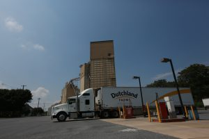 A Dutchland Farms truck finishes fueling at Wenger Feeds'  Rheems Mill
